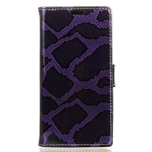 Peňaženkové puzdro s hadím motívom na Huawei Y6 II Compact - fialové - 1