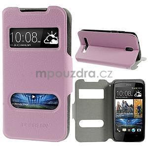 Flipové kožené puzdro na HTC Desire 500 - růžové - 1