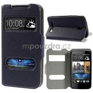 Flipové kožené puzdro na HTC Desire 500 - tmavě fialové - 1