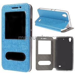 puzdro s okýnky na Huawei Ascend G620s - světle modré - 1