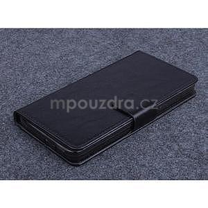 Čierné kožené peňaženkové puzdro na Huawei Ascend G620s - 1