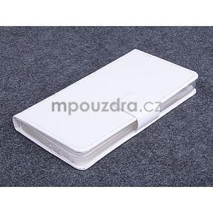 Bílé kožené peňaženkové puzdro na Huawei Ascend G620s - 1