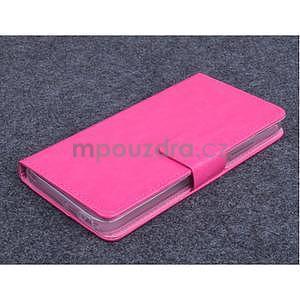 Růžové kožené peňaženkové puzdro na Huawei Ascend G620s - 1