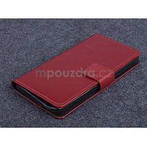 hnedé kožené peňaženkové puzdro na Huawei Ascend G620s - 1