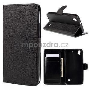 Peňaženkové puzdro na Huawei Ascend G620s - čierné - 1