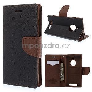Kožené peňaženkové puzdro na Nokia Lumia 830 - čierné/hnedé - 1