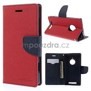 Kožené peňaženkové puzdro na Nokia Lumia 830 - červené - 1