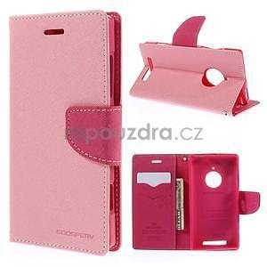 Kožené peňaženkové puzdro na Nokia Lumia 830 - růžové - 1
