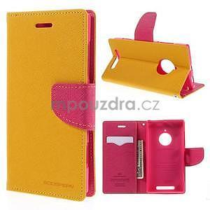 Kožené peňaženkové puzdro na Nokia Lumia 830 - žlté - 1