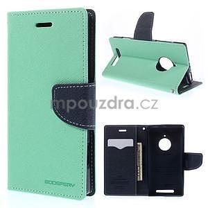 Kožené peňaženkové puzdro na Nokia Lumia 830 - azurové - 1