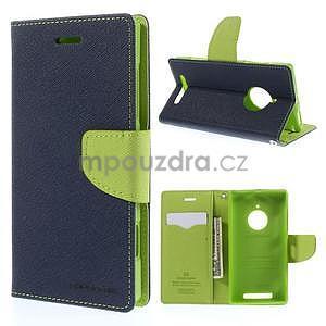 Kožené peňaženkové puzdro na Nokia Lumia 830 - tmavě modré - 1