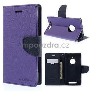 Kožené peňaženkové puzdro na Nokia Lumia 830 - fialové - 1