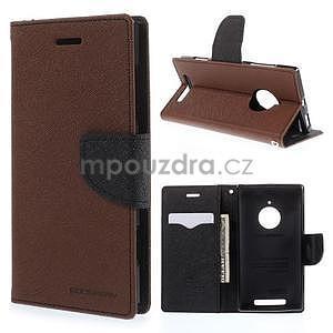 Kožené peňaženkové puzdro na Nokia Lumia 830 - hnedé/čierné - 1