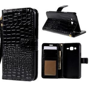 PU kožené pouzdro s imitací krokodýlí kůže Samsung Galaxy J5 - černé - 1