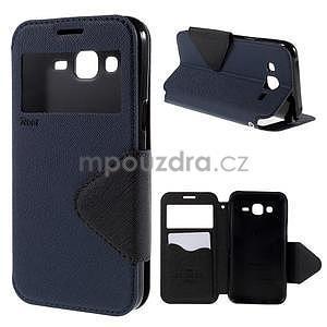 PU kožené pouzdro s okýnkem pro Samsung Galaxy J5 - tmavě modré - 1