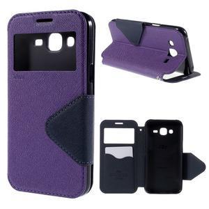 PU kožené puzdro s okienkom pro Samsung Galaxy J5 - fialové - 1