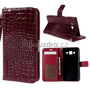 PU kožené puzdro s imitací krokodýlí kože Samsung Galaxy J5 - tmavo červené - 1