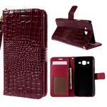 PU kožené puzdro s imitací krokodýlí kože Samsung Galaxy J5 - tmavo červené - 1/7