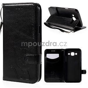 Peněženkové pouzdro s kočičkou Domi na Samsung Galaxy J5 - černé - 1