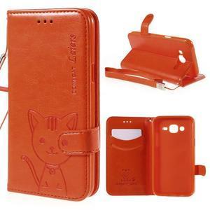Peňaženkové puzdro s kočičkou Domi pre Samsung Galaxy J5 - oranžové - 1