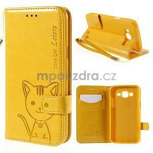 Peněženkové pouzdro s kočičkou Domi na Samsung Galaxy J5 - žluté - 1