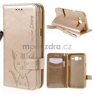 Peňaženkové puzdro s kočičkou Domi pre Samsung Galaxy J5 - champagne - 1