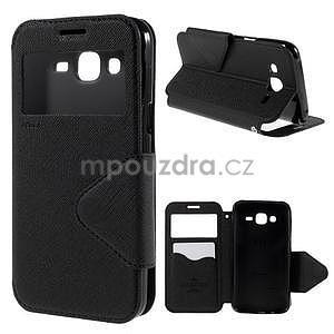 PU kožené pouzdro s okýnkem pro Samsung Galaxy J5 - černé - 1