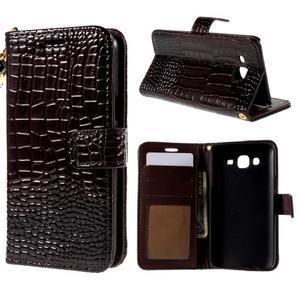 PU kožené pouzdro s imitací krokodýlí kůže Samsung Galaxy J5 - tmavě hnědé - 1
