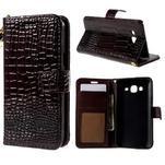 PU kožené pouzdro s imitací krokodýlí kůže Samsung Galaxy J5 - tmavě hnědé - 1/7