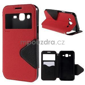 PU kožené puzdro s okienkom pro Samsung Galaxy J5 - červené - 1