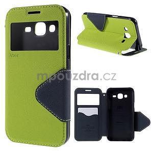 PU kožené pouzdro s okýnkem pro Samsung Galaxy J5 - zelené - 1