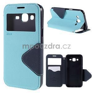 PU kožené puzdro s okienkom pro Samsung Galaxy J5 - svetlo modré - 1