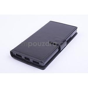 Peňaženkové kožené puzdro na Lenovo P70 - čierné - 1