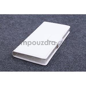 Peňaženkové kožené puzdro na Lenovo P70 - biele - 1