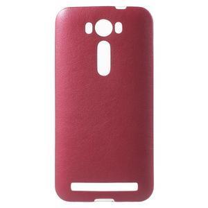 Gélový obal s jemným koženkovým plátem na Asus Zenfone 2 Laser ZE500KL - rose - 1