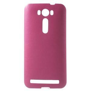 Gélový obal s jemným koženkovým plátem na Asus Zenfone 2 Laser ZE500KL  - růžový - 1