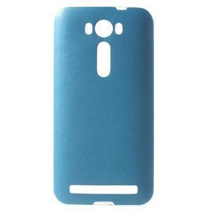 Gélový obal s jemným koženkovým plátem pre Asus Zenfone 2 Laser ZE500KL - modrý - 1