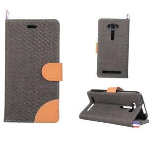 Jeans puzdro na mobil Asus Zenfone 2 Laser - čierne - 1