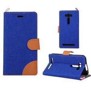 Jeans puzdro pre mobil Asus Zenfone 2 Laser - tmavomodré - 1