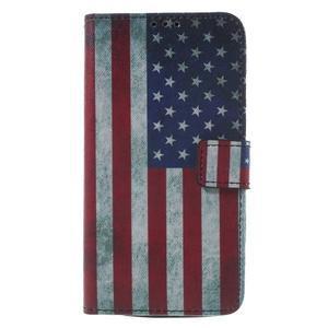 Koženkové puzdro na Asus Zenfone 2 Laser - US vlajka - 1