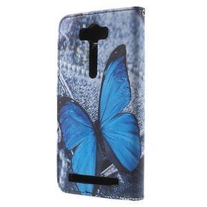 Koženkové puzdro na Asus Zenfone 2 Laser - modrý motýľ - 1