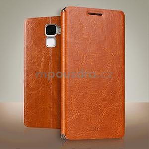 Koženkové puzdro na mobil Honor 7 - hnedé - 1