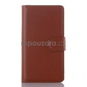 Peňaženkové puzdro pre mobil Lenovo A2010 - hnedé - 1