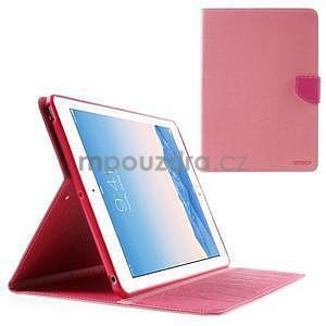Diary peňaženkové puzdro pre iPad Air - ružové - 1