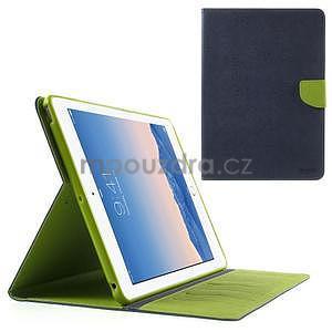 Diary peňaženkové puzdro na iPad Air - tmavomodré - 1