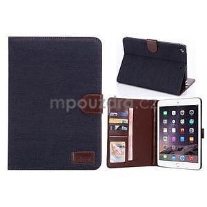 Jeans luxusné puzdro na iPad Mini 3, iPad Mini 2 a iPad Mini - čiernomodré - 1