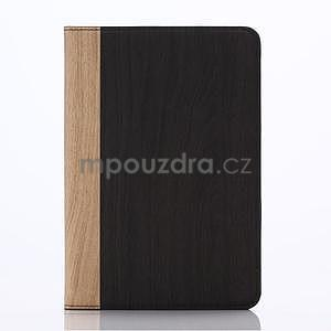 Koženkové puzdro s imitáciou dreva na iPad Mini 3, iPad Mini 2, iPad mini - tmavošedé - 1