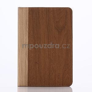 Koženkové puzdro s imitáciou dreva na iPad Mini 3, iPad Mini 2, iPad mini - hnedé - 1