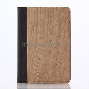 Koženkové puzdro s imitáciou dreva na iPad Mini 3, iPad Mini 2, iPad mini - svetlohnedé - 1