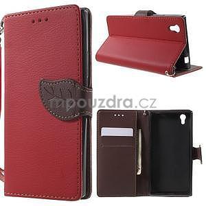Supreme peňaženkové puzdro na Lenovo P70 - červené/hnedé - 1